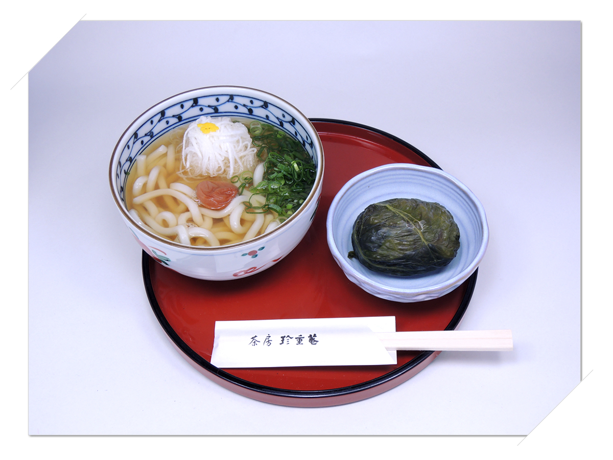 熊野那智大社・那智の滝・青岸渡寺の側 甘味処・お食事処・喫茶「茶房珍重庵 那智山店」メニュー写真 もうでうどん